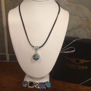Peacock / blue / turquoise black snap necklace set